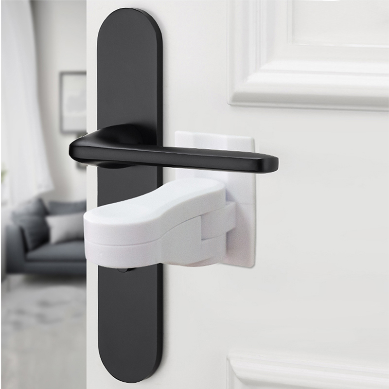 NEW! 2 PC Baby Saftey Lock Door Level  Handle With Adhesive Anti-open Locks For Child Protection Toddler Security Locks