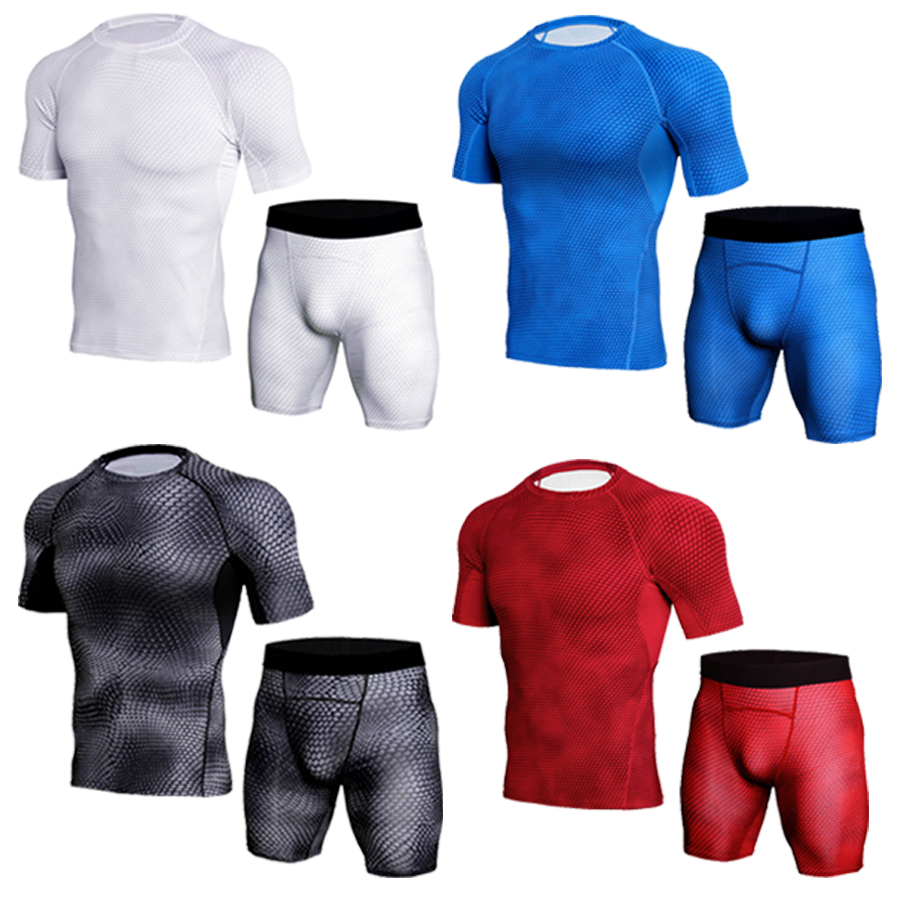 Men's camouflage thermal underwear set Short sleeve thermal underwear base layer male sports compression shirts