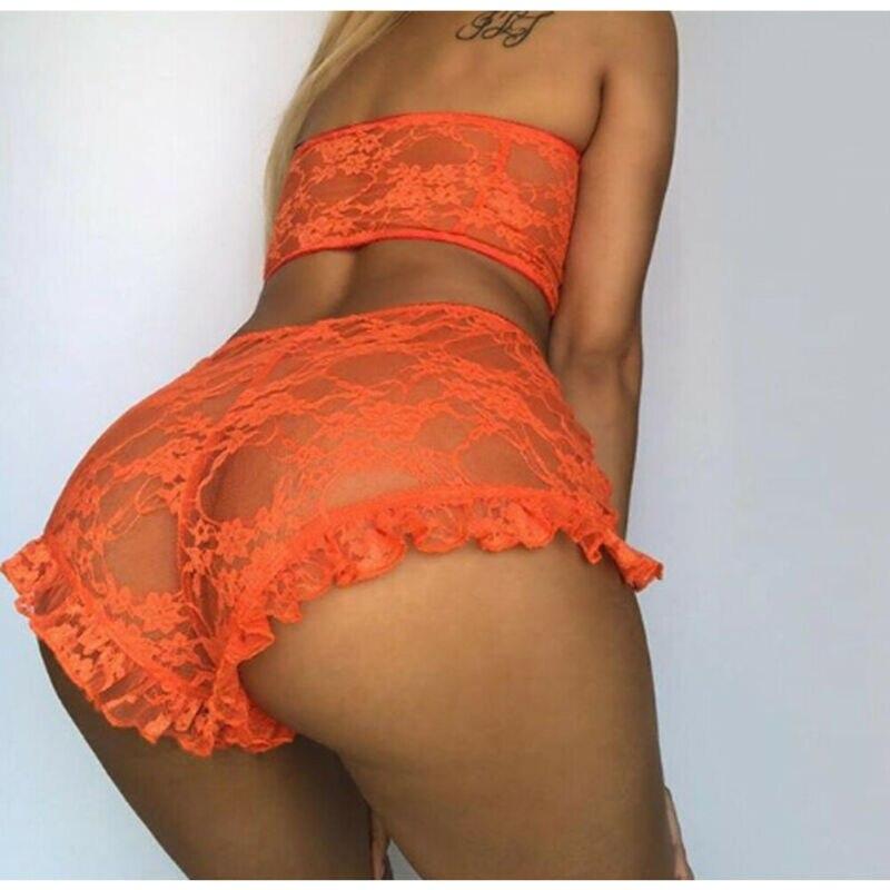 Sexy Women Lace Tulle Lingerie Sets Ruffles Sleepwear Babydolls Lady Sexy Bandeau Underwear Nightwear Exotic Set