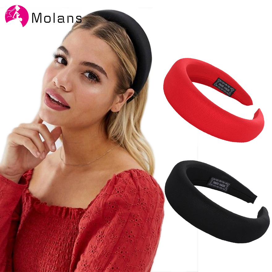 Molans 2019 Female Bezel Head Silk Padded Headband For Women Solid 4cm Wide Thick Hair Hoop Hairband Cotton Blends Headbands