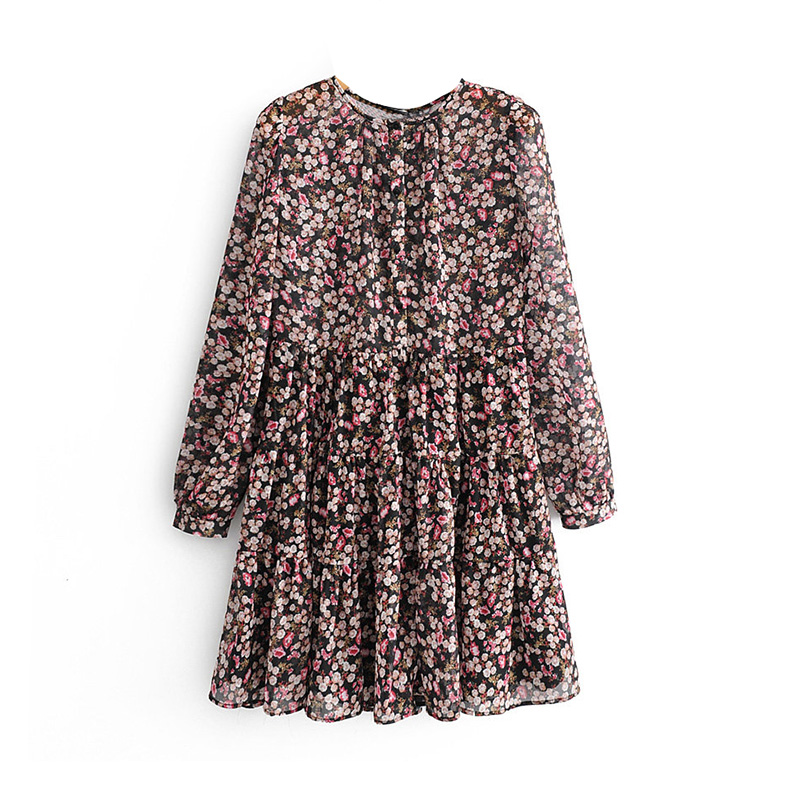 Floral Print Pleated Long Sleeve O Neck Loose Boho Dress 1