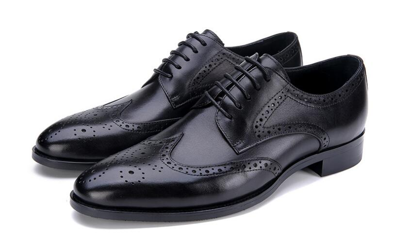 Fashion brogue genuine leather pointed toe men's shoes high-top formal carved dress  shoes lace up dress shoes wedding shoes