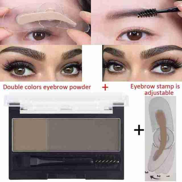 Double Color Eyebrow Powder Professional Makeup Palette Eyebrow Stamp Eye Brow Enhancers Eye Brows Shadow Make Up Brow Powder 2