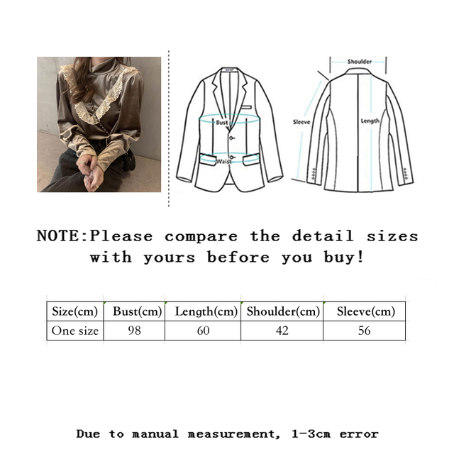 Sllsky Lace Ruffle Patchwork Women Velour Blouse Vintage Long Sleeve Half High Collar Shirt 2020 Autumn Winter Basic Blouse 6