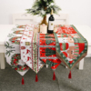 Christmas Embroidery Tablecloth with Tassel Decorative Knitted Table Runner for Kitchen Dining Room