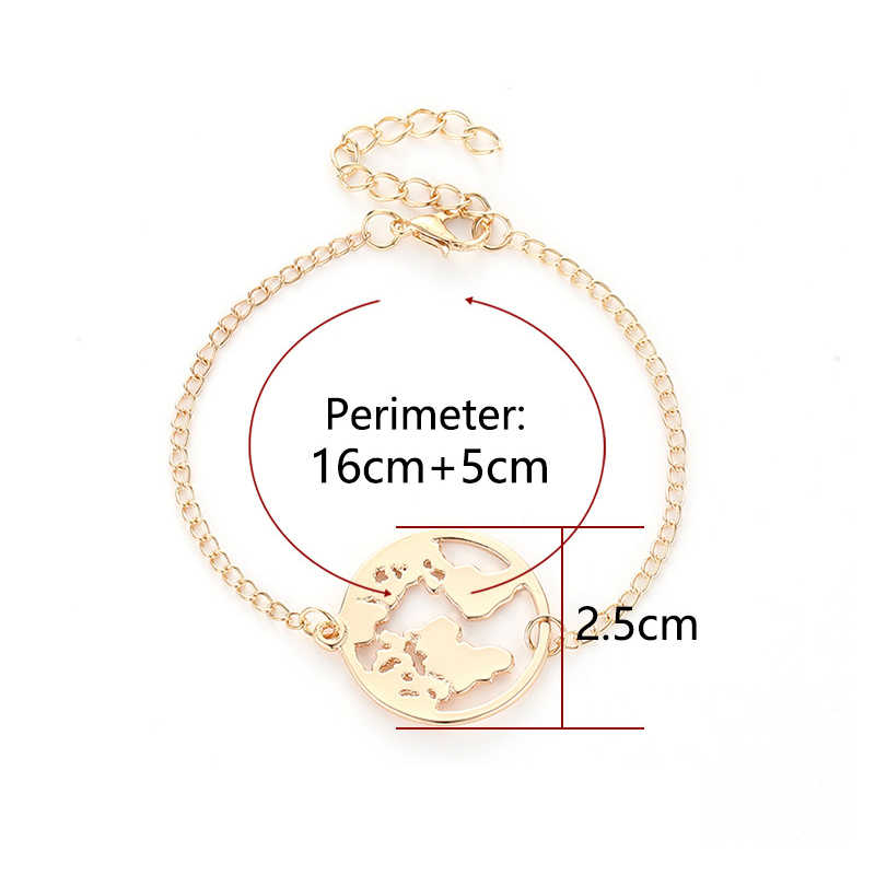 Chain Link Earth Adjustable Silver 1PC Black Wanderlust Round Golden Travel Jewellery Valentines Gift World Map Bracelet Circle