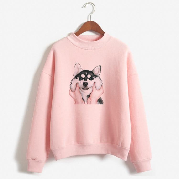 Fleece Hoodie Womens Hoodies Pullover Sweatshirt Harajuku 2019 New Autumn Winter Winter CoatWomen Cute Dogs Print Blue Hoodie