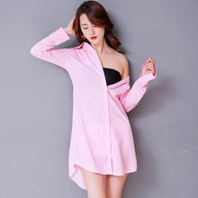 Oversize 5XL Women Sexy Nightgown Long Sleeve Button Shirt N