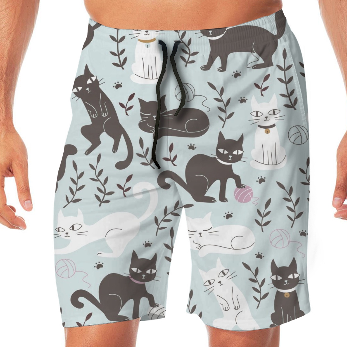 Cute Cats And Leaf  Men's Beach Pants Quick Drying Beach Shorts Swimming Surfing Boating Water Sports Trunks Swimwear Short
