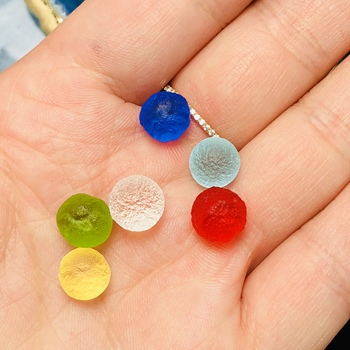 15MM!!6Pcs colored natural grindstones the Czech meteorite hit the glass beads rough stone crystal energy stone
