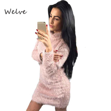 Welve Plush Sweater Women Dress Winner Long Sleeve Clothes Sexy Mini Bandage Knitted Dress for Women Brand Bodycon Dress Feamle