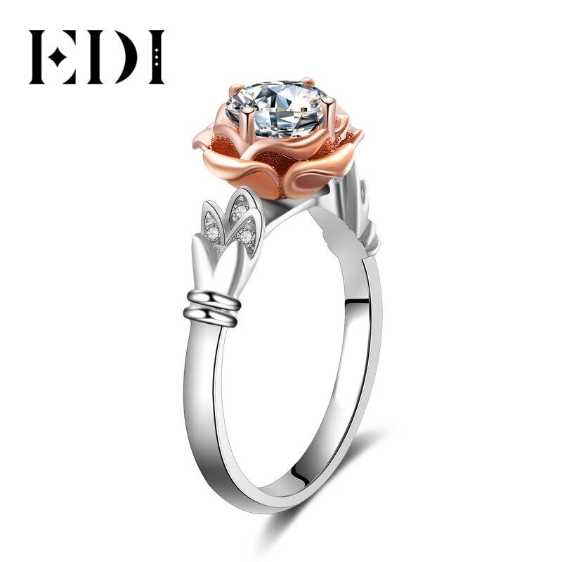Moissanite redondo Flor de lujo de di (D F VVS1) anillos 14K oro blanco rosa boda bandas de compromiso para mujeres joyería fina-in Anillos from Joyería y accesorios    1