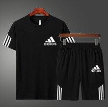 Chándal informal de verano para hombre, ropa de fútbol, baloncesto, trajes de Fitness, camiseta de manga corta + Pantalones cortos, conjunto de 2 piezas de secado rápido
