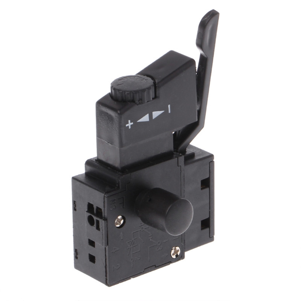 Hand Drill Speed Regulating Forward and Reverse Switches <font><b>FA2</b></font>-<font><b>6</b></font>/<font><b>1BEK</b></font> SPST Lock on Power Tool Trigger Button Switch Black image