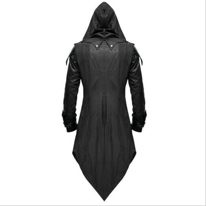Mens Gothic Matrix Trench Coat Steampunk Gothic Leather Jackets Cape Halloween