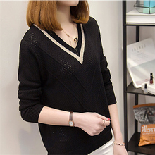 Blouse, 2019 Korean-style Loose-Fit New Style Long Sleeve Hollow out Sweater Women's chic women s hollow out long sleeve blouse