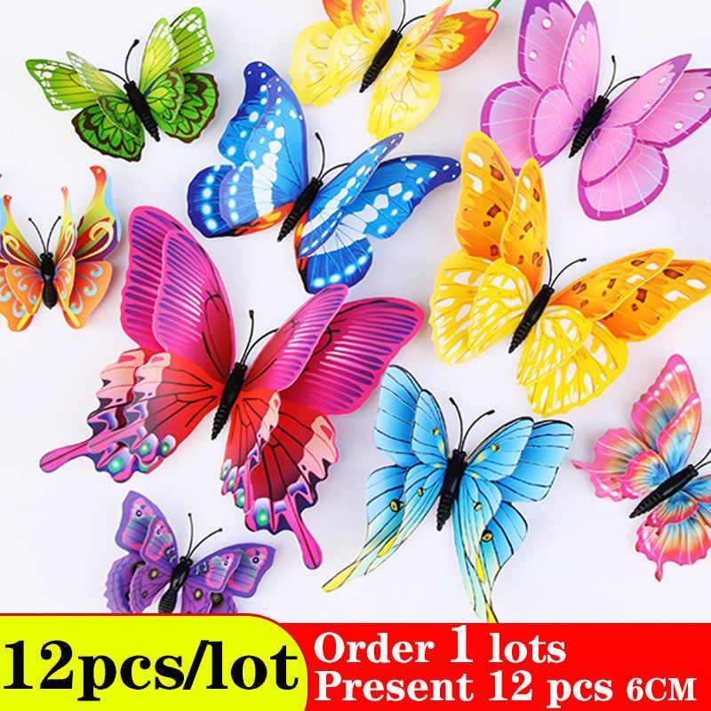 Наклейки на стену с бабочками, домашний декор, многоцветная двухслойная 3D наклейка с бабочками, 12 шт./лот, украшение для гостиной