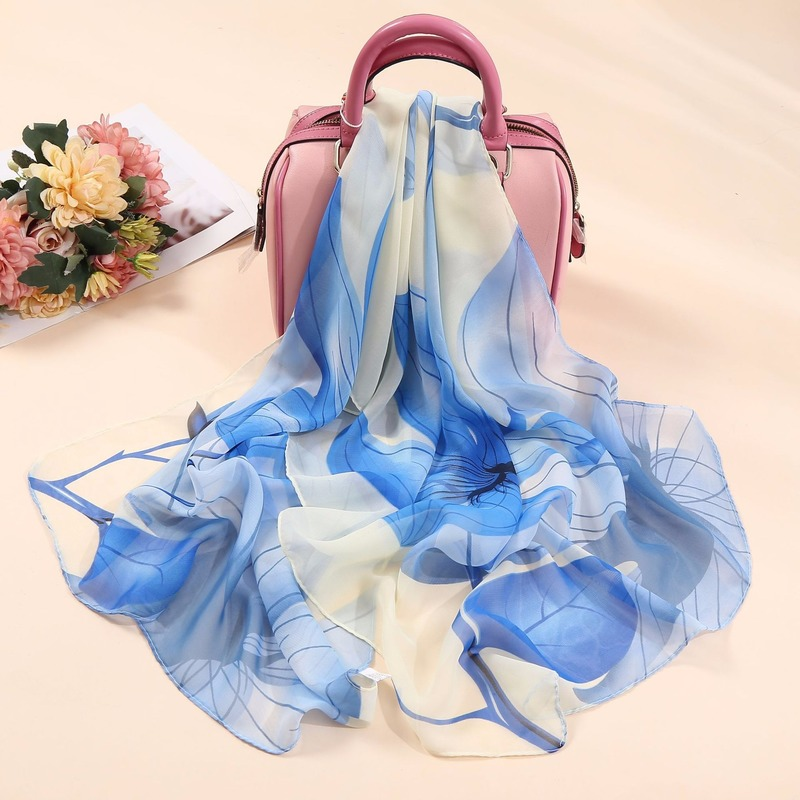 Chiffon Printed Silk Scarf Women Soft And Comfortable Fashion Gradient Lotus Pattern Scarf Female 2020 Spring Summer Cool