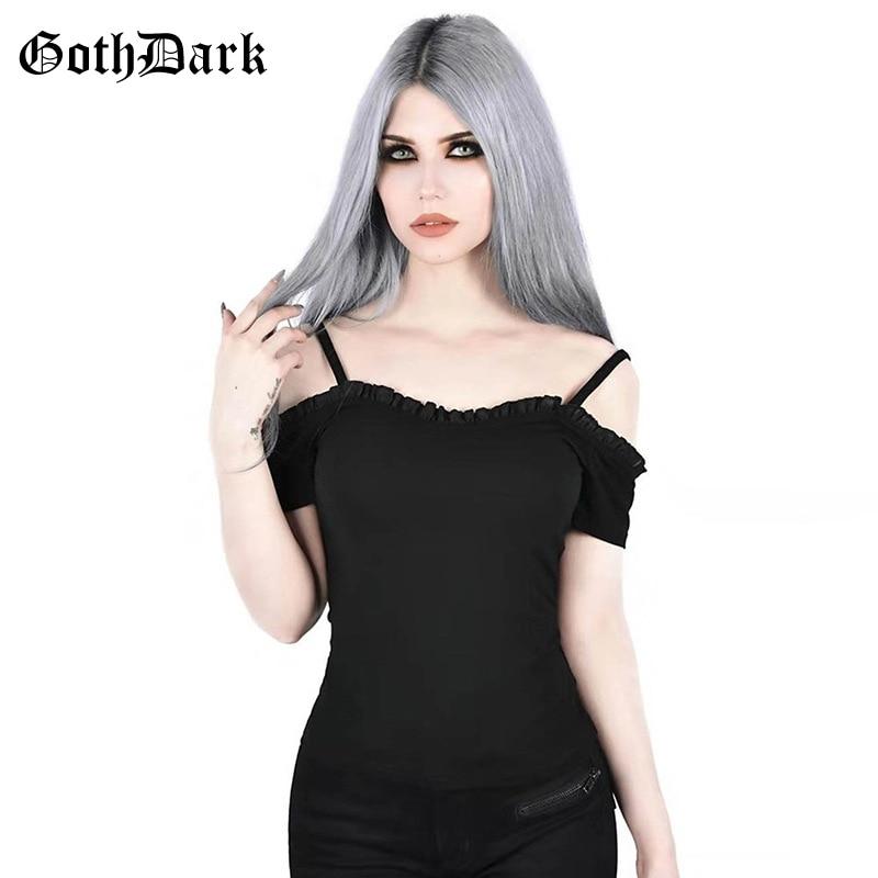 Goth Dark Vintage Gothic Backless Women T-shirt Summer 2020 Strap Rufful Punk Emo Egirl Grunge Harajuku Tshirt Goth Slash Neck