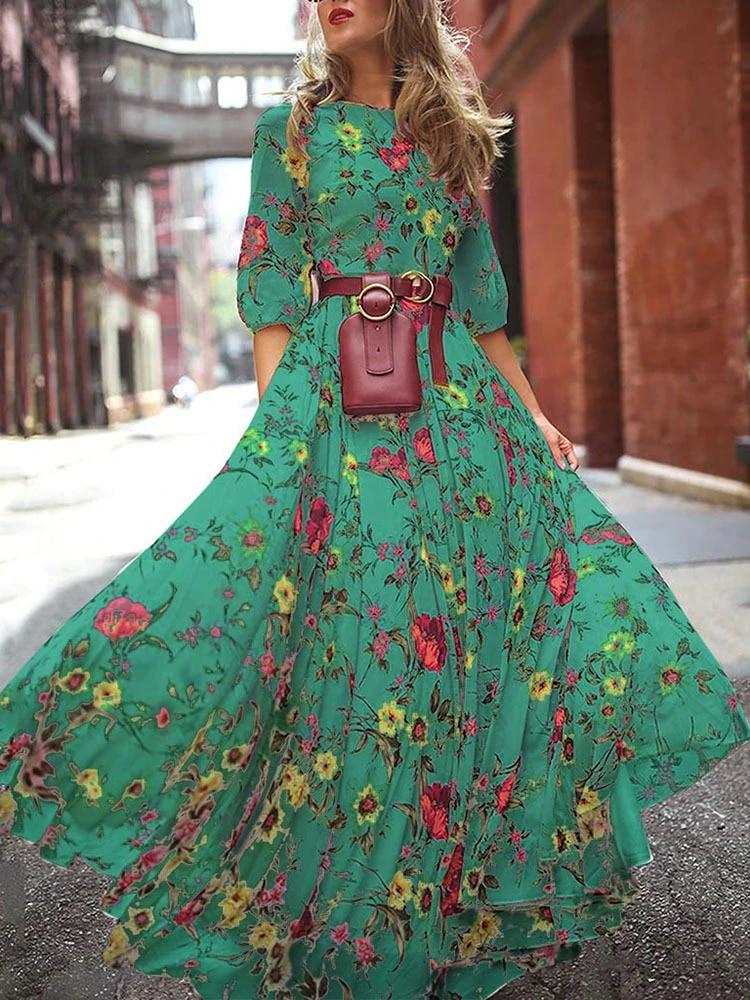Boho Hippie Chic Floral Printed White Dress Casual 3 4 Sleeve Gypsy Maxi Dress Robe Boheme Chic Mexican Dress Dresses Aliexpress
