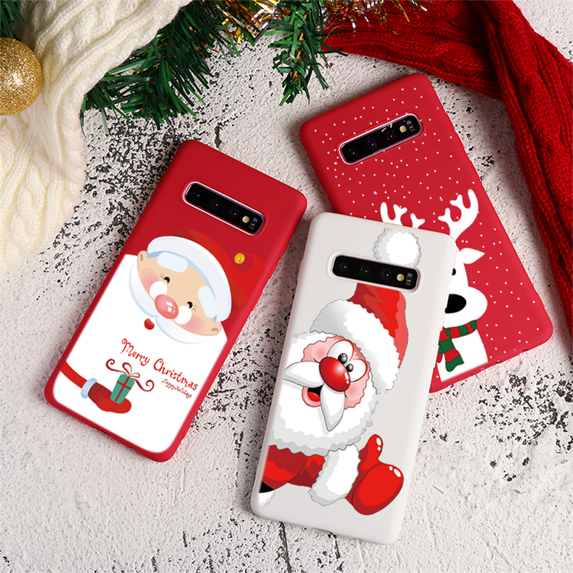 Christmas Deer Red White Case For Samsung Galaxy J3 J5 J7 J2 Prime A3 A5 A7 2017 2016 A7 A8 A9 J4 J6 J8 A6 Plus 2018 TPU Cover image