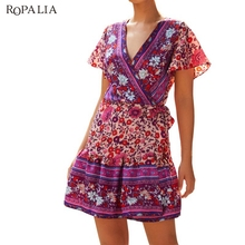 ROPALIA Women Summer Fashion Sexy Loose Flower Printed All-match Concise Casual Dresses