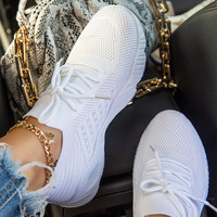 2021 Women's Sneakers Breathable Knitted Casual Women Socks Shoes Lace up Ladies Flats Female Spring Vulcanized Running Shoes 1