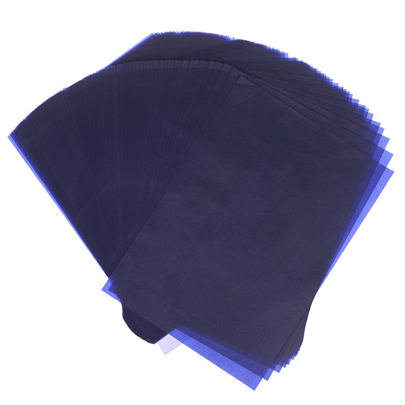 100Pcs blue A4 copy carbon paper reusable legible tracing painting accessories tracing paper carbon sheet stationery
