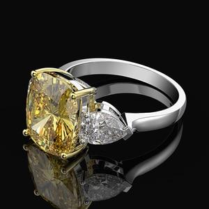 Image 3 - Rainbamabom 925 solidna srebro cytryn Moissanite kamień ślub zaręczynowy pierścionek koktajlowy kobiety biżuterii hurtowych