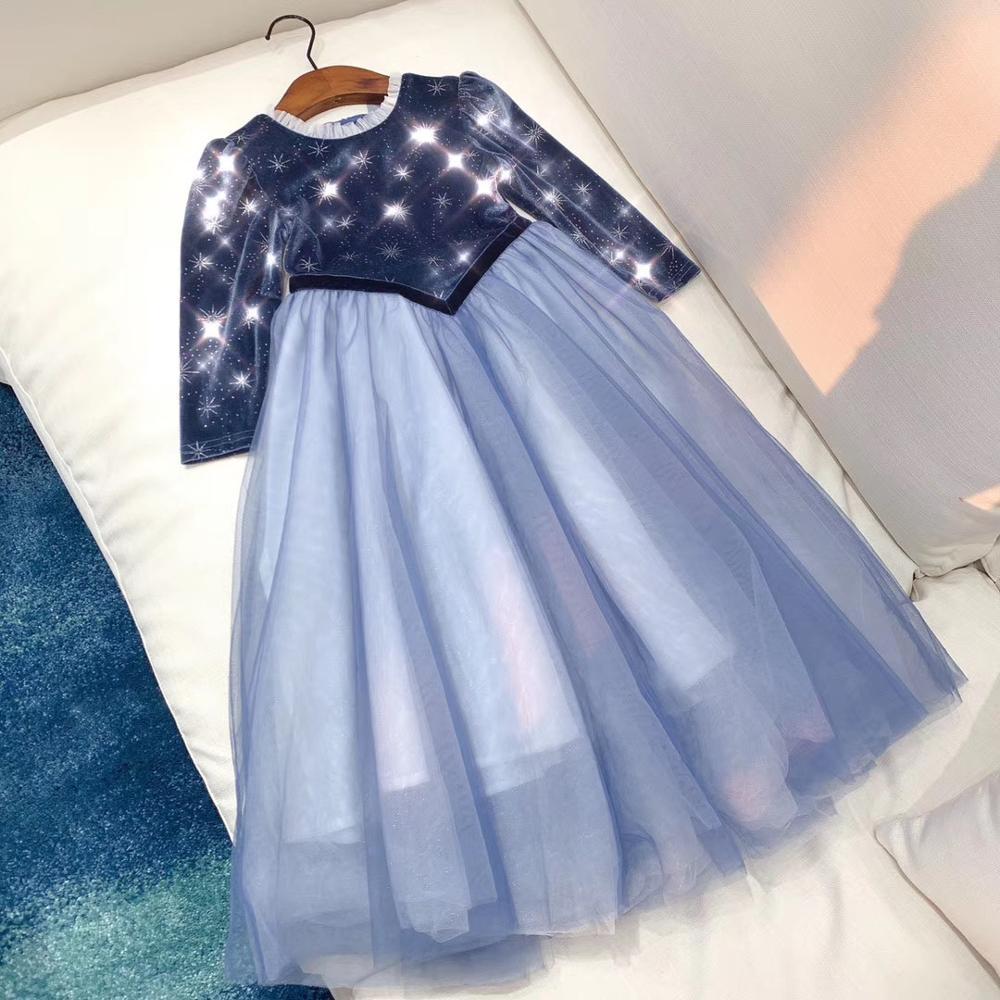 New 2020 spring high-quality velvet material sweet princess dress
