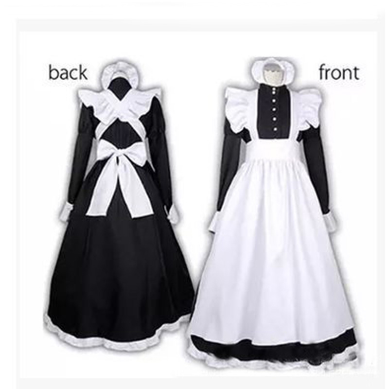 2019 S-XXL <font><b>Sexy</b></font> Adult <font><b>Men</b></font> Woman Night French Maid Servant <font><b>Costume</b></font> Black&White French Maid <font><b>Costume</b></font> <font><b>Halloween</b></font> Party Long Dress image