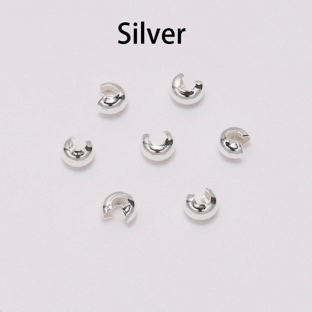 100pcs lot Silver Copper Round Covers Crimp End Beads Dia 3 4 5 mm Stopper Spacer Beads For DIY Jewelry Making Findings Supplies in Jewelry Findings Components from Jewelry Accessories