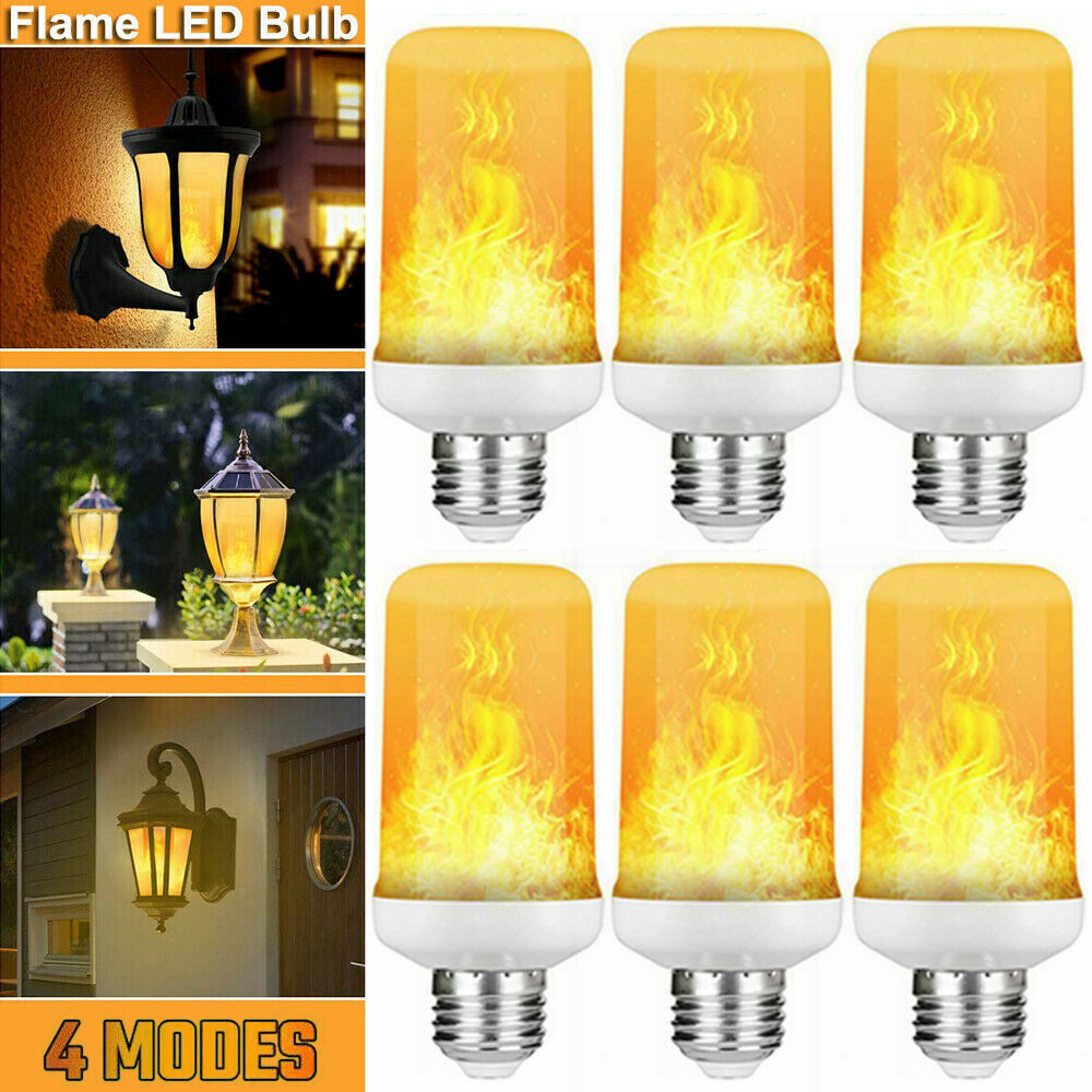2/4/6Pcs/Lot Four Modes 3W E27 Flame Bulb 85-265V LED Flame Effective Fire Bulbs Flickering Emulation Decor LED Lamp