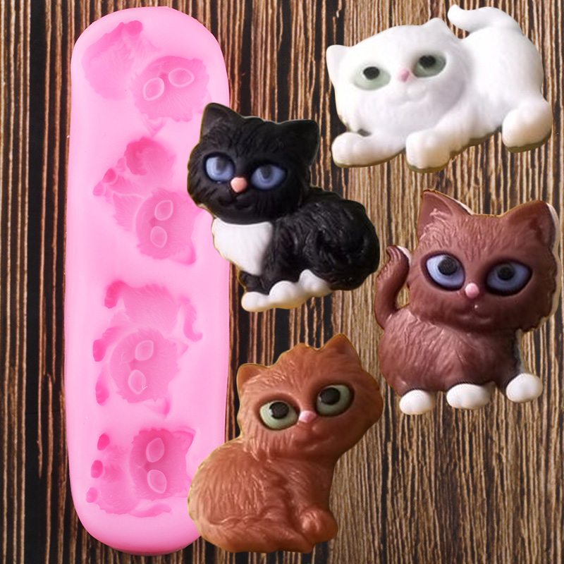 Cat Animal Cake Silicone Mould Cupcake Topper Decor Fondant Mold SL