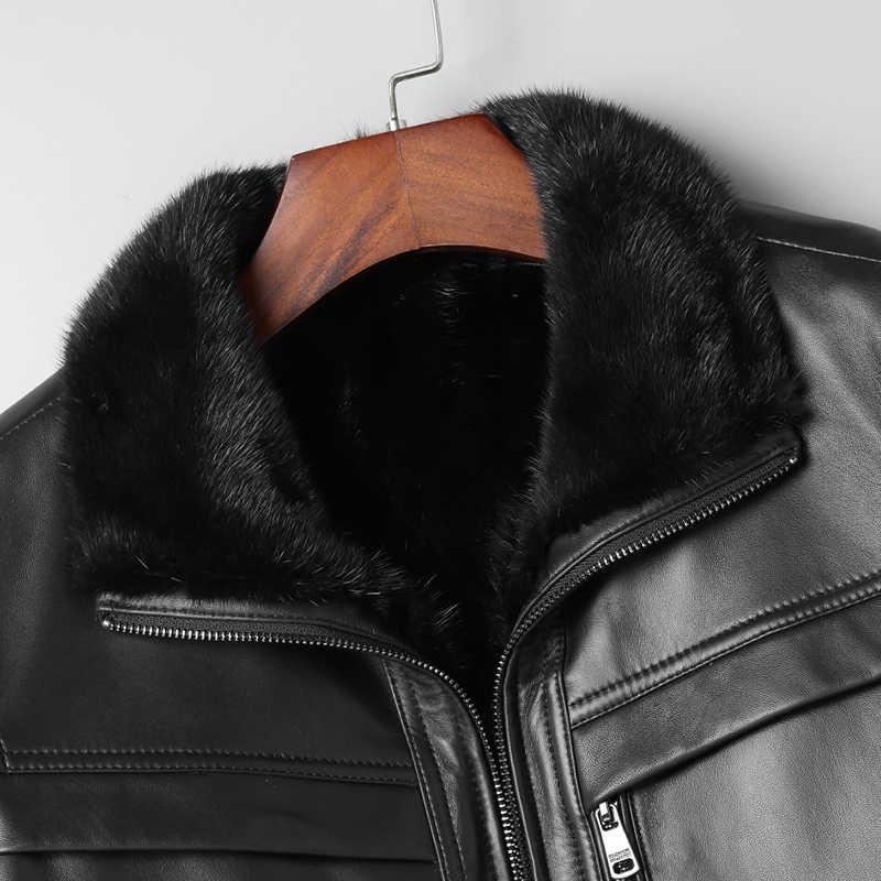 Echt Lederen Jas Mannen Real Nertsen Bont Voering Warme Jas Winter Jas Mannen Echte Schapenvacht Jassen Plus Size L18-5800 MY1601