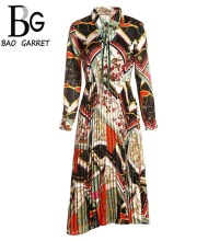 Baogarret Spring Fashion Runway Long Sleeve Dress Women's Belted Collar Pleated Floral Print Retro Vintage Dress