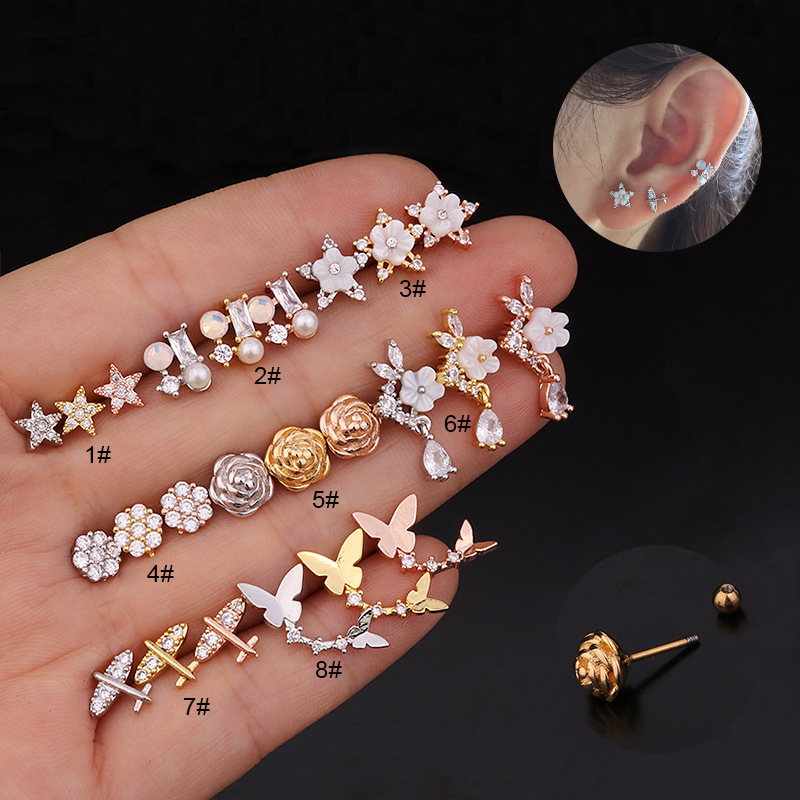 Fashion 1PC 20g Stainless Steel Ear Piercing Jewelry Cz Cartilage Earrings Helix Tragus Conch Rook Lobe Screw Back Stud Earring
