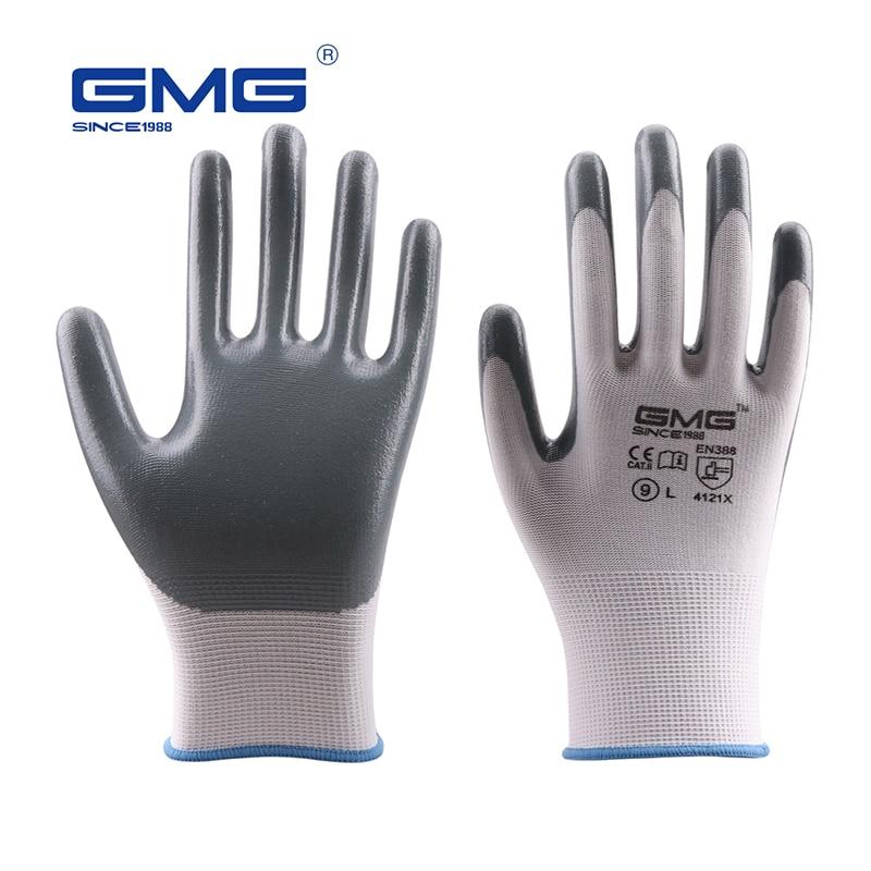 Hot Sale GMG CE Certificated EN388 White Polyester Grey Smooth Nitrile Work Safety Gloves Work Gloves Mechanics