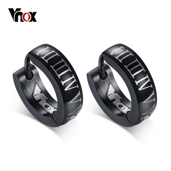 Vnox Punk Black Hoop Earrings for Men Roman Numerals High Quality Stainless Steel Male Jewelry.jpg 350x350 - Vnox Punk Black Hoop Earrings for Men Roman Numerals High Quality Stainless Steel Male Jewelry