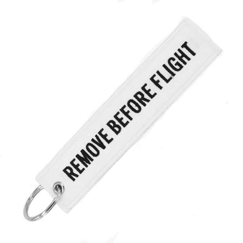 1 pedaço Vender Multicolor Remova Antes do Vôo Moda Tags Chaveiro Chaveiro Retângulo Poliéster Bordado Mensagem 13*3CM