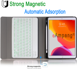 Image 5 - 7 Colors Backlit Keyboard Case for iPad 10.2 Case with Pencil Holder for Apple iPad 7th Generation A2200 A2198 A2197 Cover Funda