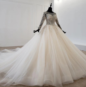 Image 3 - Бальное платье HTL1149, свадебное платье, кружевной корсет с круглым вырезом и шнуровкой на спине, платье невесты с длинным рукавом и бусинами, 2020