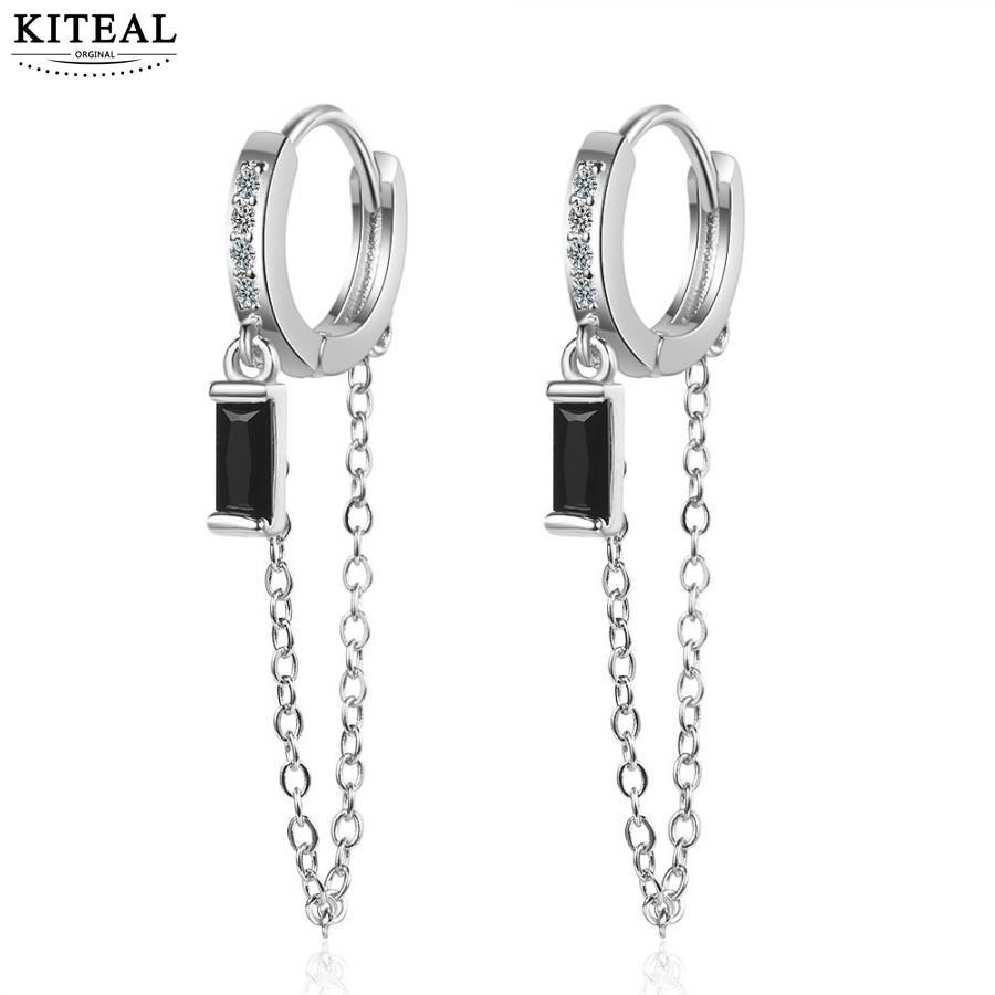 KITEAL Mode Neue Marke Design Luxurio silber farbe Weibliche Freund schwarz platz drop hoops sport Baumeln Ohrringe