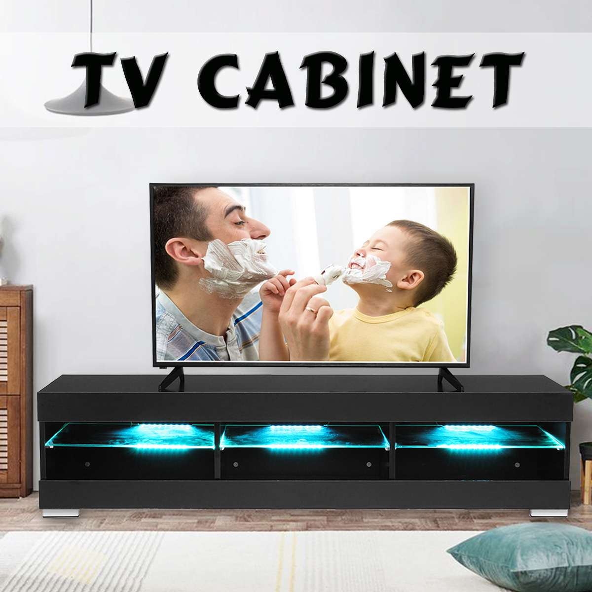 57'' TV Unit Cabinet Stand LED Light High Gloss White Black Wood Table  Living Room Meuble TV Bedroom Furniture Desk US Shipping