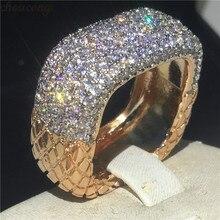 Choucong בציר נשי מבטיחים טבעת פייב AAAAA cz 925 כסף סטרלינג נישואים טבעות לנשים הצהרת המפלגה תכשיטים