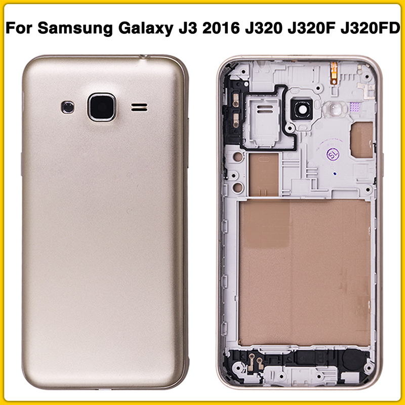 J320 Full Housing Case For Samsung Galaxy J3 2016 J320 J320F J320FD Battery Back Cover Door Rear Cover + Mid Middle Frame Cover