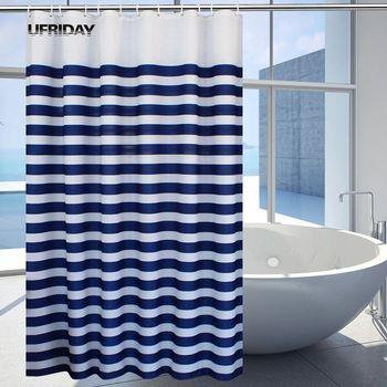 UFRIDAY, cortina de ducha Náutica de plástico, a rayas, resistente al agua, cortina de baño a rayas azul marino, olas del océano, cortina de baño con gancho