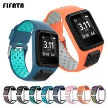 Fifata pulseira de relógio esportiva, pulseira inteligente de silicone para tomtom runner 3/2, para smartwatch tomtom aventurer/golfer 2/spark/3 música