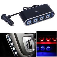 4 way car power splitter lighter socket with usb port Portable 4-Way DC Car Cigarette Lighter Socket Splitter Charger Adapter 12v-24v Adapter With USB Port /LED Light Control (Black)
