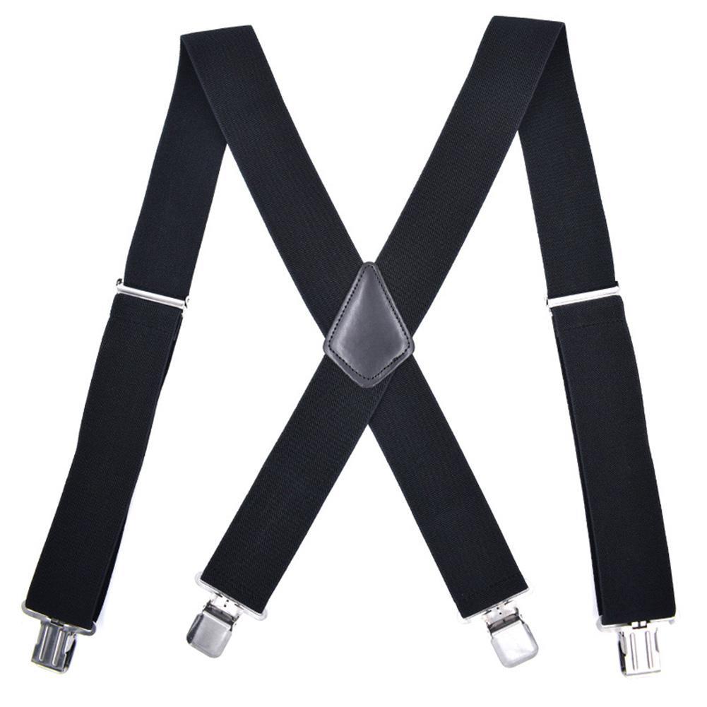 Adjustable Men Elastic Clipon X-Back Suspender Pants Wide Band Braces Strap